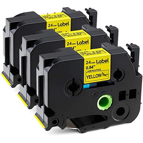 Label KINGDOM Compatible Label Tape Replacement for Ptouch TZe-651 TZe651 TZ651 TZ-651 Label Tape, Black on Yellow, 24mm x 8m, 0.94 Inch x 26.2 Feet, Work with PT-D600 PT-D600VP Label Maker, 3-Pack