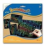 MAMMUT 158007 - Kratzbilder ScratchKunst, Motive Tiere, Komplettset mit 4 Kratzbildern Regenbogen, Kratzstäbchen und Anleitung, Scraper, Kratzset für Kinder ab 3 Jahre -