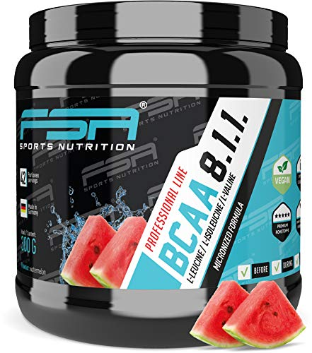 BCAA 8:1:1 Pulver, Low Carb ohne Dextrose, Vegan, Made in Germany - FSA Nutrition - 300 g - Wassermelone