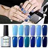 Esmalte de Uñas Semipermanentes 12pcs Kit Uñas de Gel UV LED Serie de Color Azul Semipermanente Shellac Soak off Manicura y Pedicura 10ml de Fairyglo-kit 003