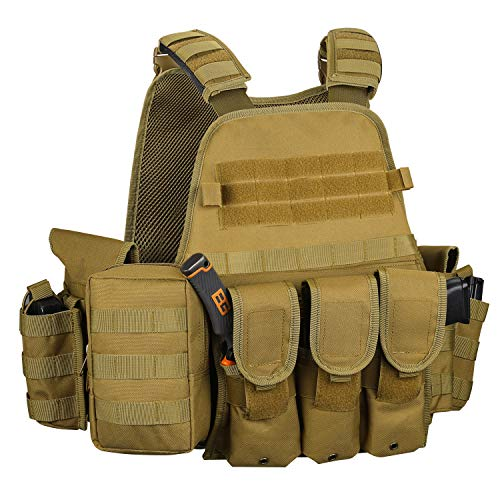Gonex Chaleco Táctico de Hombre Militar MOLLE Chaqueta Antibalas de Protección Camuflaje para Airsoft CS Game Paintball Swat Policia Combate Cosplay Entrenamiento Formación Caza Deporte al Air