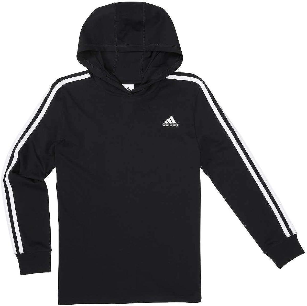 adidas Youth 3 Stripe Hooded Tee