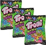 Trolli Sour Brite Sloths Sour Gummi Candy 4.25 Ounce Bag (Pack of 3)