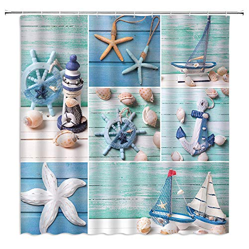 Nautical Shower Curtain Starfish Lighthouse Sailboat Anchor Marine Element Patchwork Pattern for Ocean Lovers,Nautical Fabric Bathroom Set Hooks Included