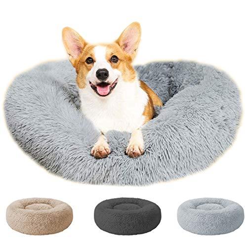 Perfectmiaoxuan Rundes Donut-Katzen- und Hundebett, rutschfeste Unterseite, weiches Plüschkissen, superweich, flauschig, selbstwärmend, beruhigend, gegen Angst, waschbar
