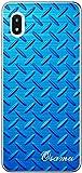 Galaxy A20 SCV46 スマホケース ギャラクシーA20 カバー らふら 名入れ メタル ブルー