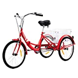 Viribus Adult Tricycle with Carbon Steel Frame | 24 Inch Folding Tricycle with Large Bike Basket | 24er Folding Trike | Adult Trike Bike for Women Men Errands Exercise Mobility Fun (Red, 24'/1-Speed)