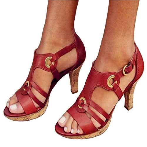 HYWL Sandalias de Mujer Zapatos de tacón de cuña 2021 Nuevo Verano Casual Flip Flop de Gran tamaño Zapatillas,Rojo,36