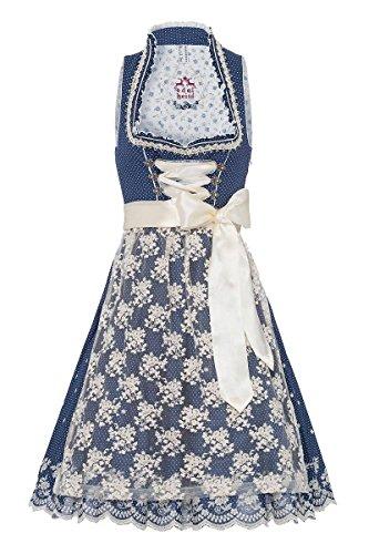Edelheiss Damen Midi Dirndl 65er blau Creme Sammy 001925, Größe 34