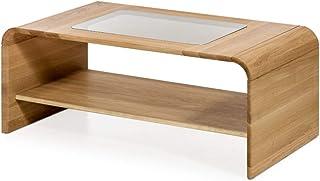Marca Amazon -Alkove - Hayes - Mesa de centro de madera maciza con superficie de cristal y ruedas (roble salvaje)