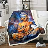 Buddha Statue Plush Blanket Buddha Print Fleece Throw Blanket Asian Culture Theme Sherpa Blanket Exotic Style Fuzzy Blanket for Sofa Bed Couch,King 87x95 Inch