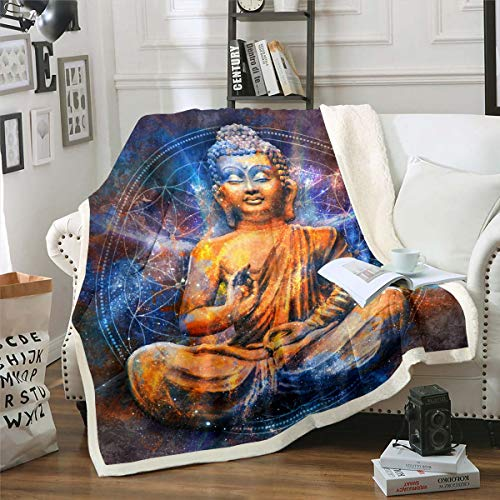 Buddha Statue Plush Blanket Buddha Print Fleece Throw Blanket Asian Culture Theme Sherpa Blanket Exotic Style Fuzzy Blanket for Sofa Bed Couch,Queen 90x90 Inch