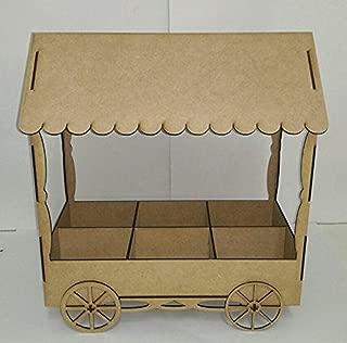 Kit para hacer carrito de chuches de madera DM para candy bar mesa dulce. Medidas:44cm de alto x 35 cm de ancho x 20 cm de fondo