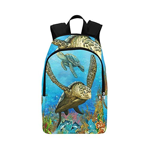 QYUESHANG The Coral Reef Illustration for The Children Casual Daypack Travel Bag College School Backpack for Mens and Women