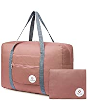 For Airlines Foldable Travel Duffel Bag Tote Carry on Luggage Sport Duffle Weekender Overnight for Women and Girls (1112-Orange)