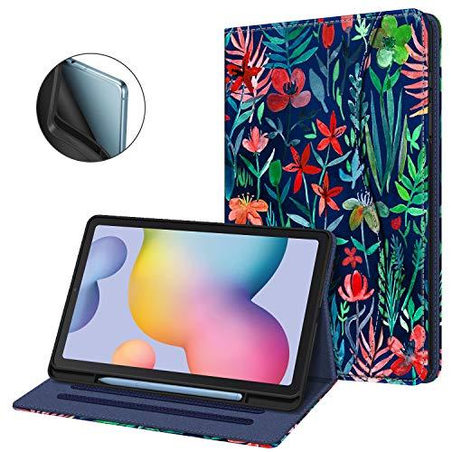 Fintie Hülle für Samsung Galaxy Tab S6 Lite, Soft TPU Rückseite Gehäuse Schutzhülle mit S Pen Halter und Dokumentschlitze für Samsung Tab S6 Lite 10.4 Zoll SM-P610/ P615 2020, Dschungelnacht