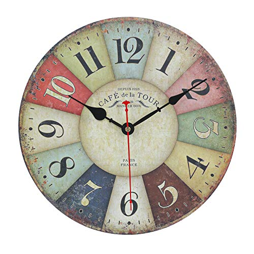 Orologio da Parete, Vintage Multicolore Francese Orologio da Parete Moderno in Legno in Stile di Toscana, orologi da parete design moderno Decorazione La Sua Casa