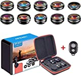 APEXEL 10 in 1 Cell Phone Camera Lens Kit Wide Angle&Macro Lens+Fisheye Lens+Telephoto...