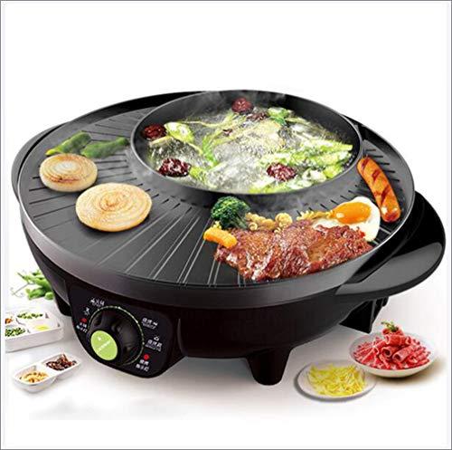 2-in1 Elektrische Hot Pot met BBQ Grill, Verwarmingsregeling 1600W Non Stick Koreaanse Elektrische Pan Hot Pot BBQ Frituur Cook Grill Keuken