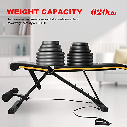 Wonder Maxi Adjustable Bench Weight at Home Workout Bench, Strength Training Bench for Full Body Exercise, Multi-Purpose Foldable Incline Bench with Arm Resistance Bands (Black)