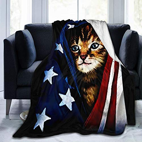 """ZHLP American Flag Cat Blanket Ultra Soft Thick Bed Blanket Soft Coral Flannel Blanket Micro Fleece Blanket for Sofa Couch Bed Chair Office Sofa Soft 80""""x 60"""""""