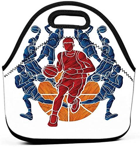 Bolsa de almuerzo reutilizable aislada a prueba de fugas, duradera, compacta, trabajo de oficina, escuela, equipo de baloncesto, jugador, mojado, goteo, pelota, acción, gráfico, acuarela