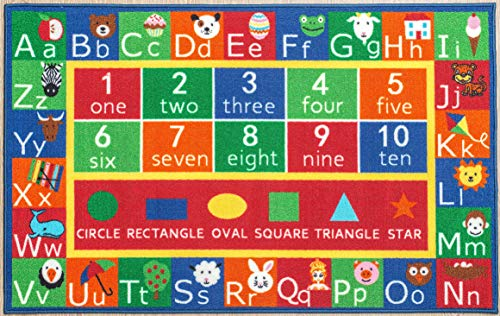"""Kids Rug ABC Alphabet numbers and Shapes Educational Area Rug Area Rug Non Skid Backing by Furnishmyplace 3'3"""" x 5' Rectangle"""