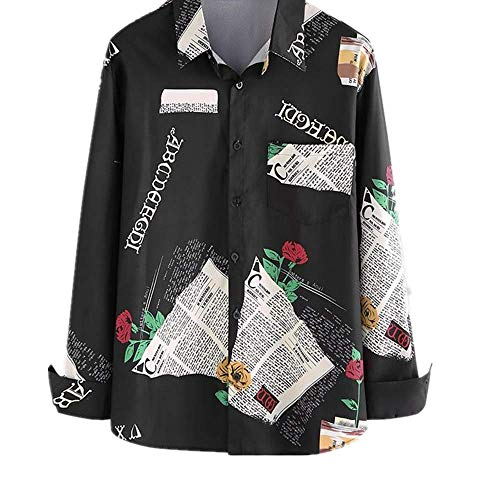 NOBRAND Fashion Heren Shirt Print Ademende Korupc Shirt met lange mouwen Casual Losse Lapel High Street Heren Hawaiiaanse Shirt