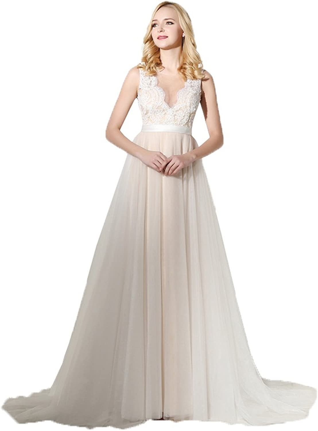 Onlybridal Women's Lace Long Prom Dress Tulle Beige Evening Dresses VNeck