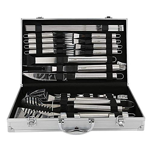 U-MISS BBQ Grill Tools Set with 26 Barbecue Accessories - Stainless Steel Utensils with Aluminium Case - Complete Outdoor Grilling Kit (26) (26pcs)