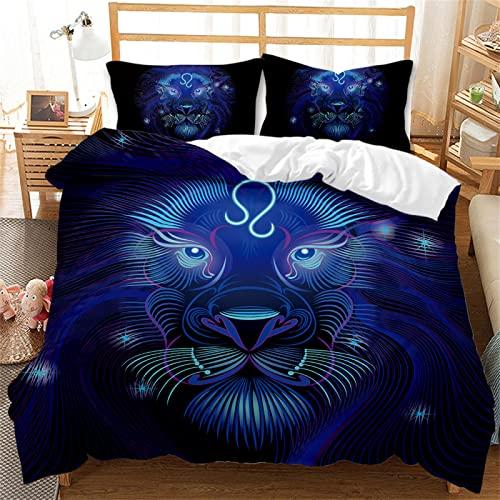 Juego De Cama De Cama King Animal Azul, Juego De Edredón, Juego De 3 Piezas con 2 Fundas De Almohada Y Cama Doble De Dormitorio con Cremallera Invisible 200x200cm