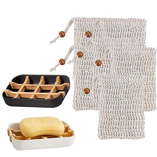 N\C 2 jaboneras sostenibles + 6 bolsitas de sisal, saquitos de jabón ecológicos, respetuosos con el medio ambiente, de madera de bambú natural con bandeja de goteo de fibra de bambú