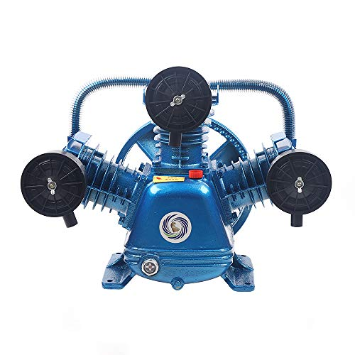 Upgrade Version V Type Twin Cylinder Air Compressor Pump Head Double Stage Replacement Pump 21CFM 2HP 115PSI/ 5.5HP 181PSI (2HP 115PSI)