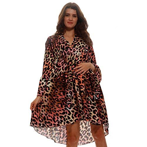 YC Fashion & Style Damen Tunika Kleid Sommer Allover Muster Boho Look Party-Kleid Freizeit Minikleid für Frauen mit Kurven HP219 Made in Italy (One Size, Leo/Mehrfarbig)