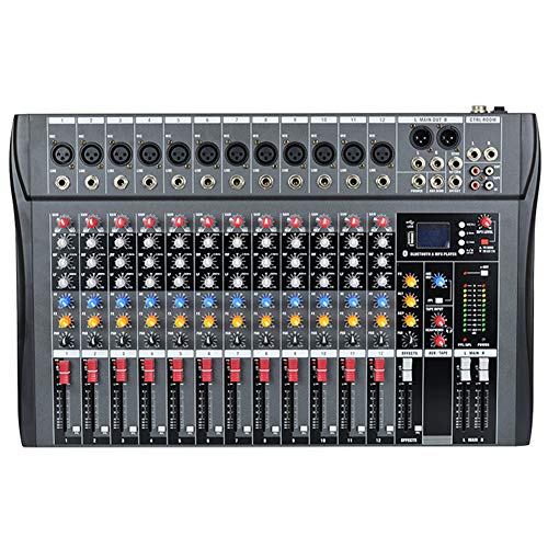 Weiming Mezclador Profesional de DJ Mezclador de Audio USB de 12 Canales Mesas de Mezcla de Estudio Alimentación Fantasma incorporada de 48V