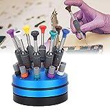 Qiterr 【𝐏𝐚𝐬𝐜𝐮𝐚】 Kit de reparación de Relojes, Gafas de Reloj Profesional Juego de Destornilladores para el hogar Herramienta de reparación de Relojes con Base