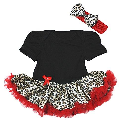 Animal Robe Coton Noir Body Rouge Leopard Jupe tutu bébé fille Nb-18 m - Noir - L
