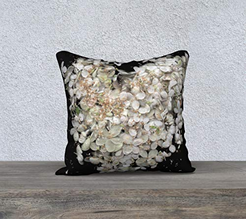 DKISEE Funda de almohada cuadrada de lino de algodón de 50,8 cm, suave funda de cojín con diseño floral en blanco y negro