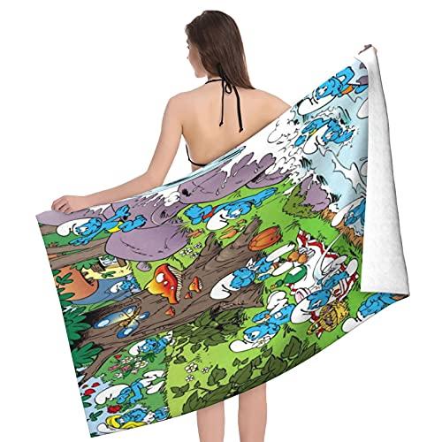 Die Schlümpfe fühlen sich super weich an, 100 % Baumwolle, perfekt für Zuhause, Strand und Schwimmbad, 80 x 130 cm.