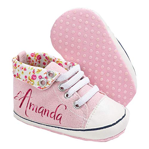 Personalized Custom Baby Girls Floral high top Sneaker Styled Crib Shoes, Soft Like Suede Felt with Inner Canvas, Soft Crib Shoes with Non Slip Bottom, 4 Colors Avaliable,