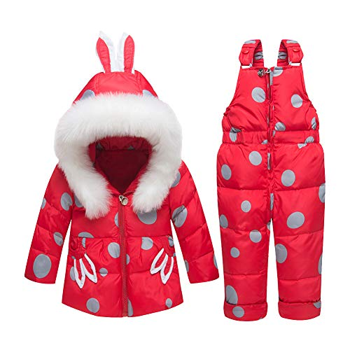LPATTERN Bébés Combinaison de Neige Ski Doudoune Parka à Capuche Rembourré Filles Garçons Manteau de Duvet Hiver avec Salopette Coupe-Vent Épais 2PCS 0-3 Ans, Rouge, 2 Ans / 90