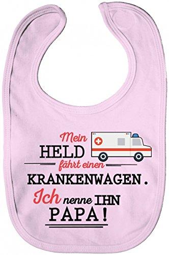 ShirtStreet Geschenk zum Vatertag Rettungsdienst Lätzchen Baumwolle Baby Bib Jungen Mädchen Papa- Mein Held fährt einen Krankenwagen, Größe: OneSize,Powder Pink