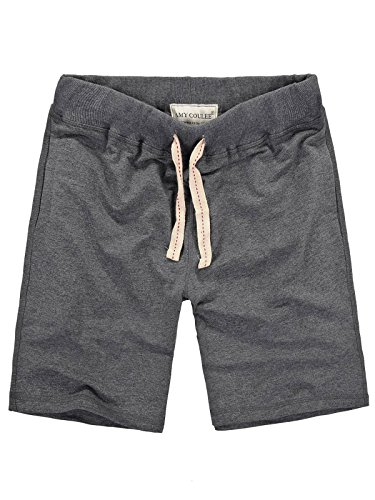 Amy Coulee Mens Terry Cotton Casual Shorts (L, Dark Grey)