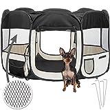 TecTake Welpenlaufstall Tierlaufstall für Kleintiere wie Hunde, Katzen – diverse Farben – (Schwarz) - 2