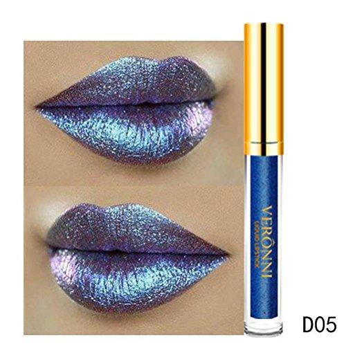 gaddrt Lippenstift 10 Farbe Womens Magie Glitzer Flip Flip ziehen Matt Perle Lipgloss (E)