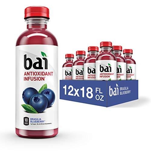 Bai Flavored Water Brasilia Blueberry Antioxidant Infused Drinks 18 Fluid Ounce Bottles 12 Count