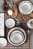 Line Dinner / Breakfast Set 44 pezzi per 6 persone, piatti in porcellana per 6 persone, piatti fondi, piatti piani, piatti da dessert e ciotole, servizio cena moderno e vintage