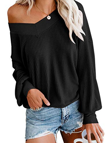 Women's Casual V Neck Long Sleeve Waffle Knit Off Shoulder Top Oversized Pullover Sweater Black Small