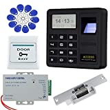 HFeng Sistema de control de acceso de la puerta RFID Cerradura eléctrica Strike, Controlador biométrico de acceso por huella dactilar + 10pcs Etiquetas clave Juego de llavero