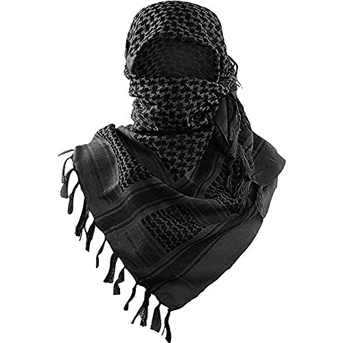 Military Shemagh Tactical Desert Scarf / 100% Cotton Keffiyeh Scarf Wrap for Men And Women/Black 43'x43'
